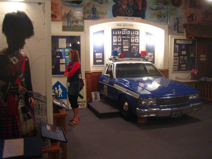 Checking out the interesting exhibits at the Vancouver Police Museum