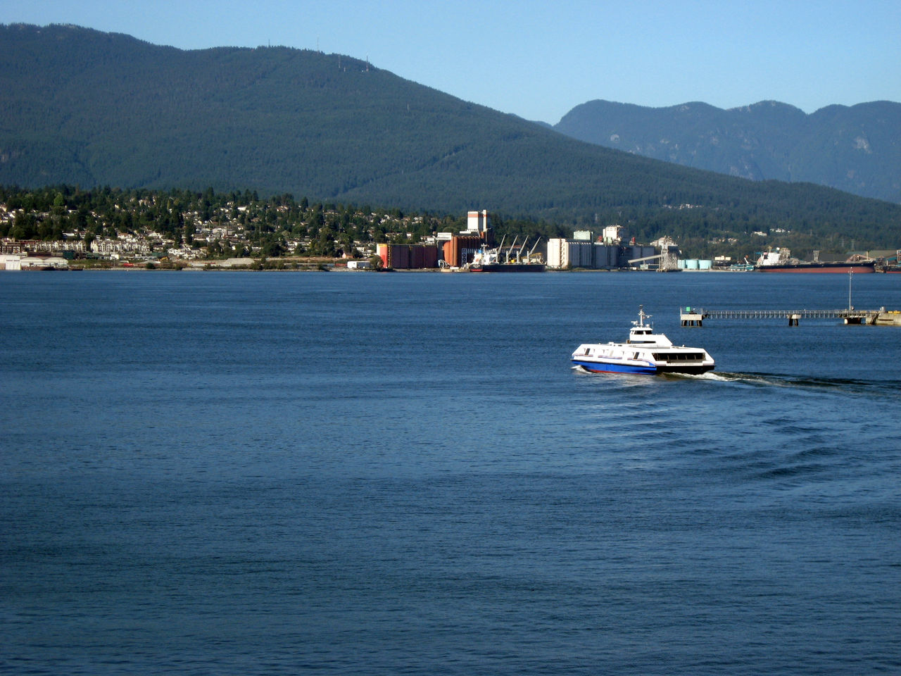 Seabus crossing Burrard Inlet to Lonsdale Quay in North Vancouver